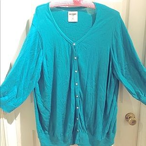 Old navy 3/4 sleeve teal turquoise cardigan